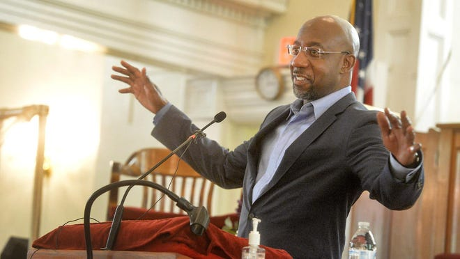 Rev. Raphael Warnock speaks at Savannah's First Bryan Baptist Church during a visit for his U.S. Senate campaign on Sept. 19.