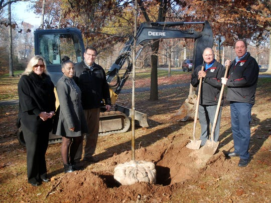Union County Freeholder Chairman Bruce H. Bergen and Freeholder Angel G. Estrada visit the Veterans Memorial Grove in Rahway River Park that is being refurbished. Missing trees are being replaced and the area around the memorial marker is being refurbished in the historic tree grove. They were joined by Union County Deputy Manager Amy Wagner, Union County Parks and Recreation Director Ron Zuber and Janna Williams of the Union County Office of Veterans Affairs. The project is part of Bergen's UCHERO initiative.