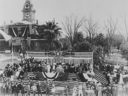 The inauguration of Arizona's first Governor George W.P. Hunt after statehood was announced on Feb. 14, 1912.
