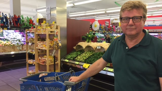 Eero Kilpi, of Rye City, was doing some grocery shopping bSunday morning ut not, he said, because of the approach of Tropical Storm Hermine.