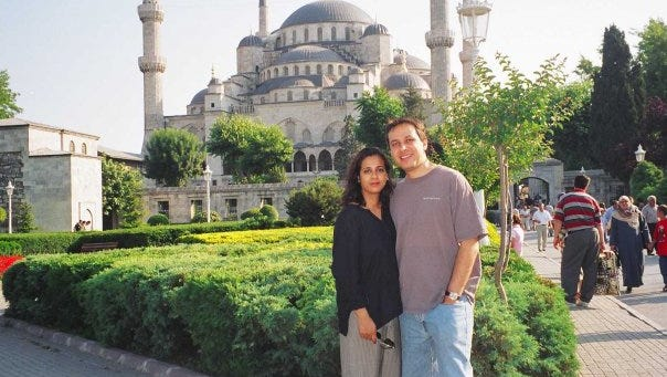 Naheed and Farid Senzai, shown here in Istanbul, will speak in Wausau as part of A Walk In Their Shoes.