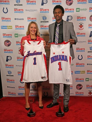 Miss Basketball Karissa McLaughlin of Homestead and Mr. Basketball Kris Wilkes of North Central at the Indiana Sports Awards show April 27, 2017 at Clowes Memorial Hall on the campus of Butler University.