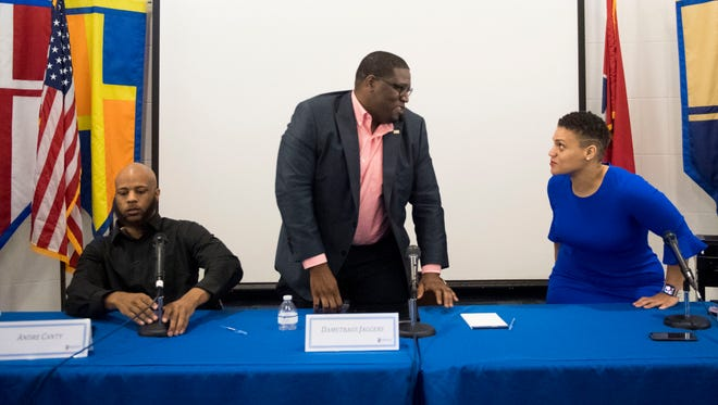 From left, District 1 school board candidates Andre Canty, Dametraus Jaggers and Evetty Satterfield gather for a forum at Pellissippi State Community College's Magnolia Ave. campus on Thursday, March 22, 2018.