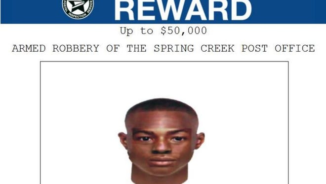 The U.S. Postal Inspection Service is offering a reward of up to $50,000 for information leading to the arrest and conviction of the person who robbed the Spring Creek Post Office on Nov. 23. Investigators created this image based on a description of the robber.