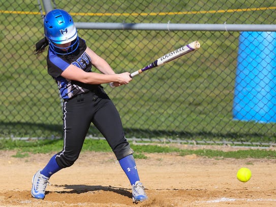 Hammonton's Abbie Adirzone bats during a 7-2 loss to