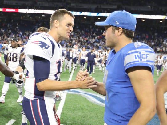 Lions QB Matthew Stafford, right, and Patriots QB Tom