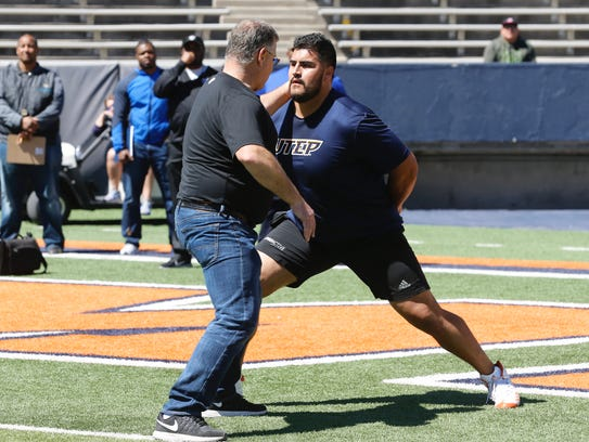 UTEP's Will Hernandez gets some offensive lineman advice