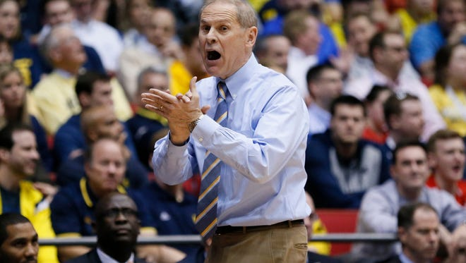 Michigan coach John Beilein reacts during the second half of U-M's 67-62 win over Tulsa in the First Four game of the NCAA tournament, Wednesday in Dayton, Ohio.