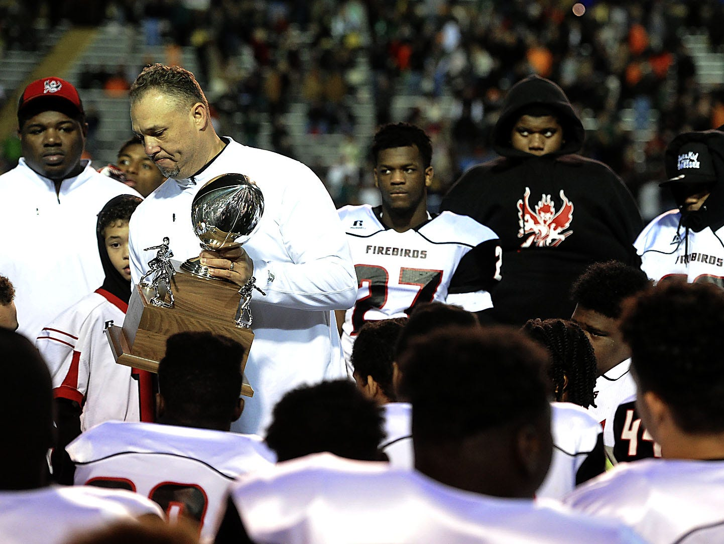 Pearl-Cohn coach Tony Brunetti following last year's loss to Knoxville Catholic