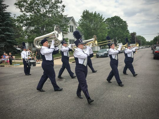 The Solar Sound Marching Band performed for the crowd in the Waite Park Family Fun Fest parade in June 2017.