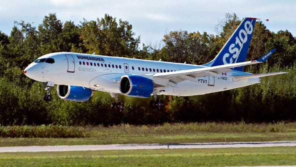 Bombardier's new CSeries jetliner takes off on its maiden flight on Sept. 16, 2013, in Mirabel, Quebec.