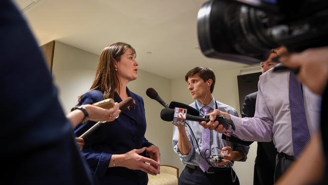 Tennessee Commissioner of Education Dr. Candice McQueen address the media after testifying before the House Government Operations committee at the Cordell Hull Building in Nashville, Tenn., Wednesday, April 18, 2018.