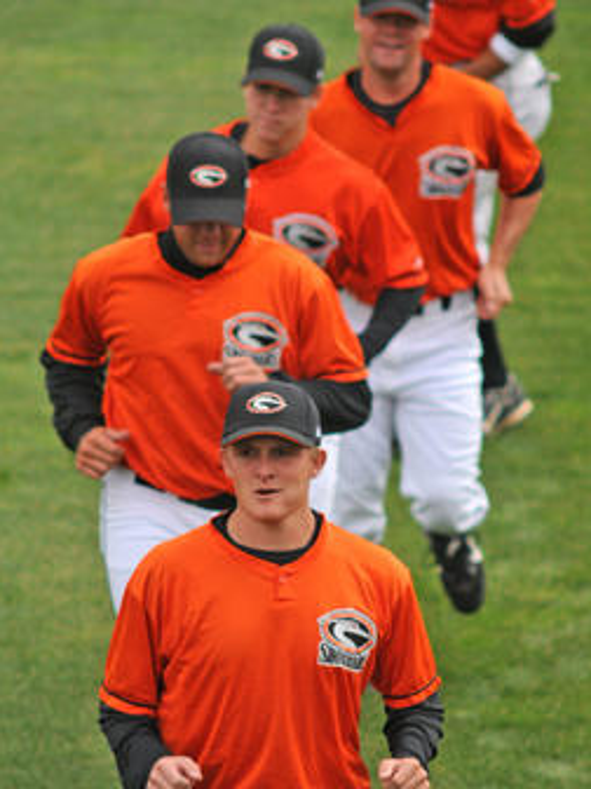 Shorebirds player warm up before a 2008 game.
