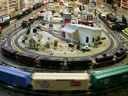 "Familiar Lionel ""S"" gauge model railroad, one of four in the Toy Train Depot."