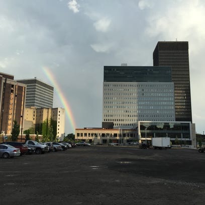 A rainbow shines near Parcel 5 in downtown Rochester