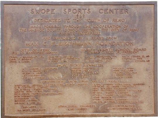 The original plaque at the Swope Athletic Complex.