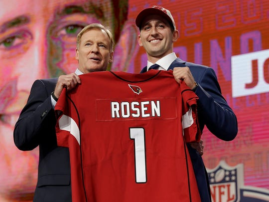 Just a year ago. Josh Rosen and NFL commissioner Roger Goodell after the Cardinals moved up to select Rosen.