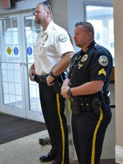 Morganfield Police Chief Geoff Deibler, left and Morganfield