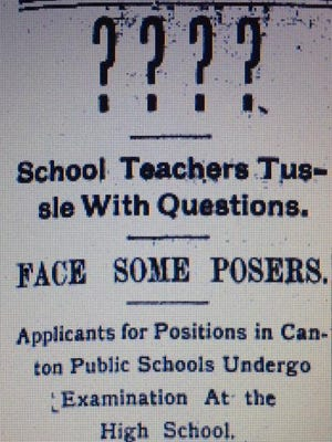 An article in The Sunday Repository in August of 1902 reported on the questions that teacher candidates were asked during a test following the application period.