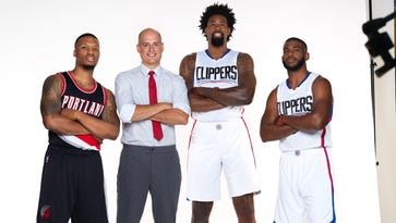 Dominic Agostini, a State Farm agent who has an office in Spencerport, flew to Los Angeles in September to record commercials with, from left, Damian Lillard, DeAndre Jordan and Chris Paul.