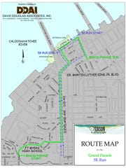 Map of the route for the 2017 Edison Festival of Light Grand Parade and 5K run.