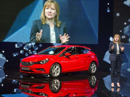 GM CEO Mary Barra and the Opel Astra