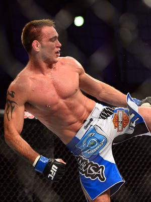 Jake Shields (left) defeated Demian Maia during UFC Fight Night 29.