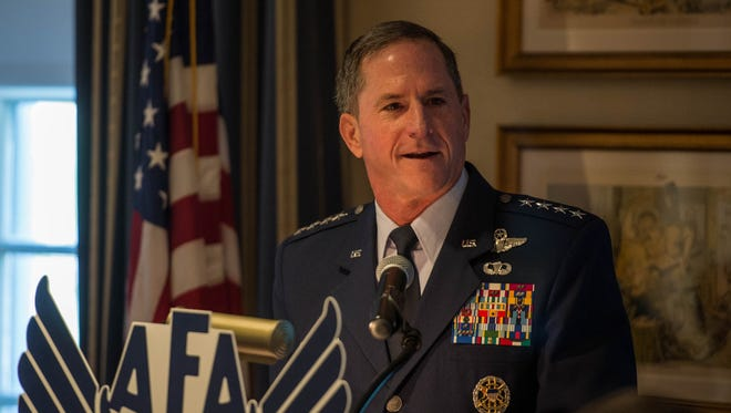 Air Force Chief of Staff Gen. David L. Goldfein speaks during an Air Force Association breakfast at the Mitchell Institute in Washington D.C., July 26, 2017. During his speech Goldfein outlined five key attributes the Air Force must be prepared for: trans-regional, multi-domain, multi-component, multi-national and fast.