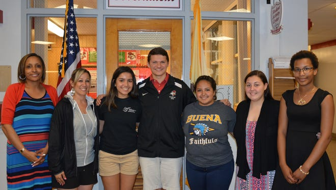 (From left) Tina Morris, assistant principal at Vineland High School; Kimberly Rivera, Class of 2016 co-adviser; Gracie Galan, incoming VHS senior class president; Jeff Martine, VHS senior class president; Adryana Santiago, Buena Regional High School senior class president; Ariyanna Santiago, Millville Senior High School senior class president; and Casey Rehmann, MSHS senior class vice president, joined together to discuss common issues.