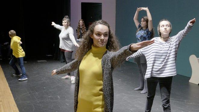 The mice, (Ayla Simoneau, Samantha Engle, Hailey Hayward, Ashley Highland, and Jenna Schultz) dancing.