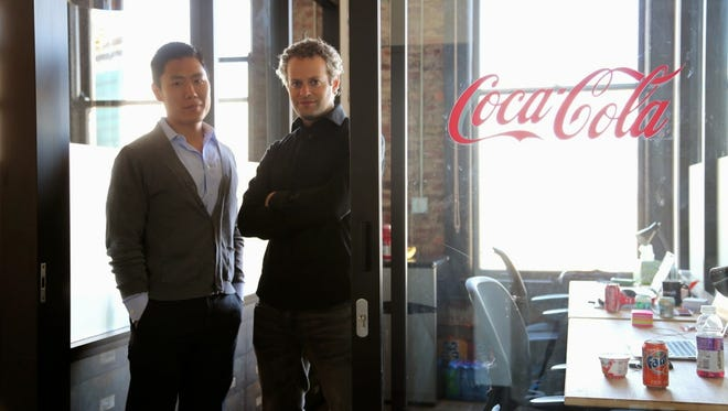 Wonolo founders Yong Kim, left, and AJ Brustein at their San Francisco office.