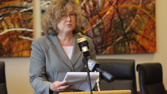 Johnson County attorney Janet Lyness is speaking at a press conference on Friday's fatal shooting at Coral Ridge Mall.