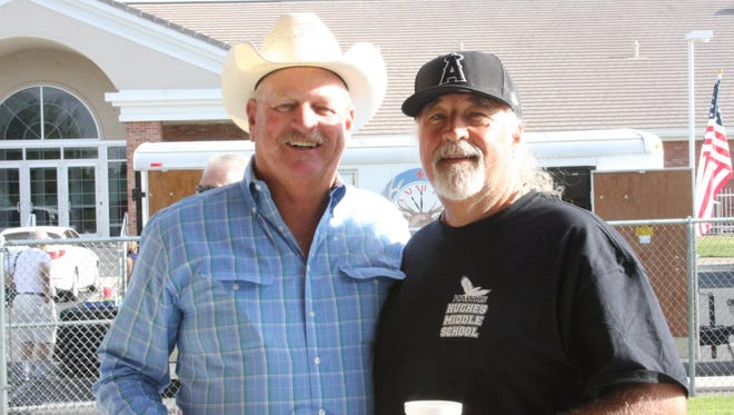 Former Clark County Commissioner Tom Collins, left, and Bob Snell, DVT contributing writer, attend the mayor's pancake breakfast in 2012.