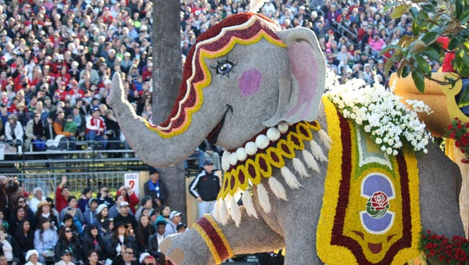 More than 40 elaborate floats, made almost entirely of flowers and changed annually, participate each year in the themed Rose Parade.