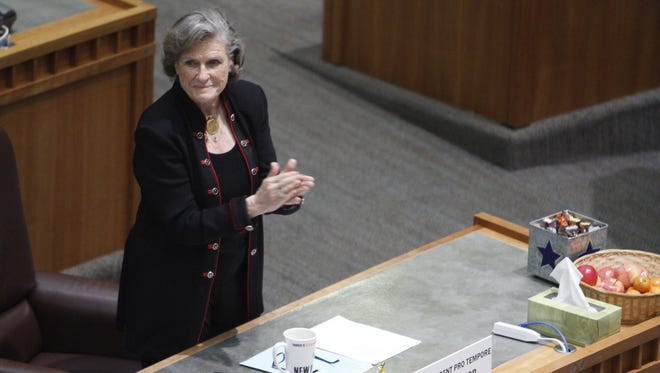 Sen. Mary Kay Papen, D-Las Cruces, on the Senate floor Tuesday. She has introduced bills to reduce the use of solitary confinement, including for juveniles.