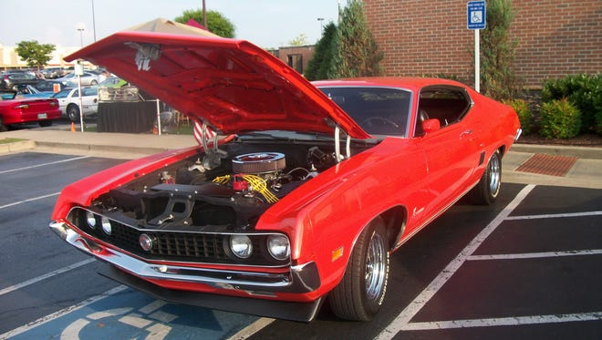A 1970 Ford Torino belonging to GoodWheel Cruisers Car Club members Jamie and Diane Guess.