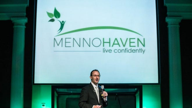 Jon Baker, Chief Administrative Officer for Menno Haven, discusses reason for the $120 million dollar strategic plan Wednesday at Chambersburg First Church of God.