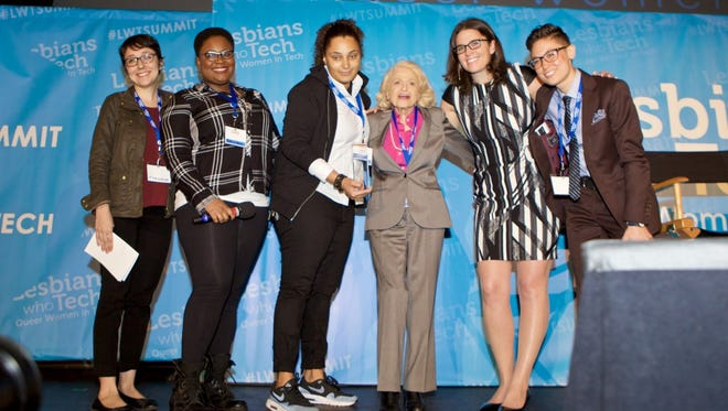 The recipients of the Edie Windsor scholarships with Edie Windsor, and Lesbians Who Tech founder, Leanne Pittsford. From left to right: Nicole Castillo, Beatrix House, Anais Farges, Edie Windsor, Leanne Pittsford and Dom Brassey.