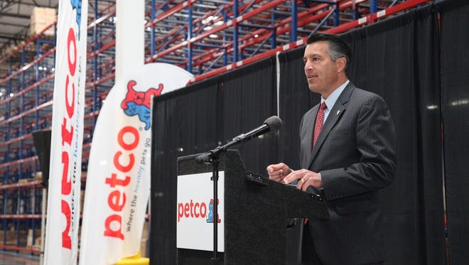 Gov. Brian Sandoval speaks at the grand opening of Petco's new distribution center in Reno.