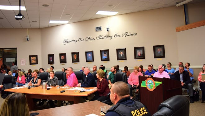 It was a packed house at La Vergne City Hall on Tuesday night as residents turned out to speak for or against a proposed zoning change.