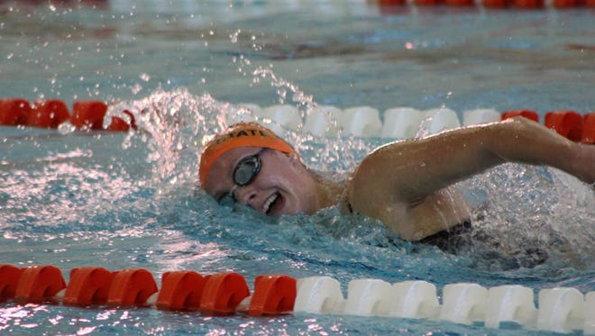 Brighton's Kellie House won all four of her events once again on Thursday in a 118-68 victory over Hartland.