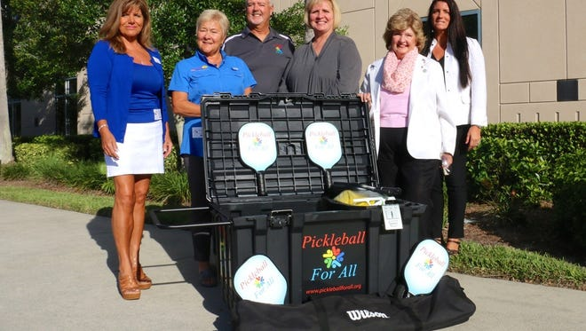 From left to right, Barbara Balcar, Carol Caefer, Jim Ludwig, Superintendent of Collier County Schools Kamela Patton, Commissioner Donna Fiala and Director of Physical and Driver Education Tracy Bowen. Pickleball for All, a nonprofit, donated a third pickleball package to the Collier County School District in October.