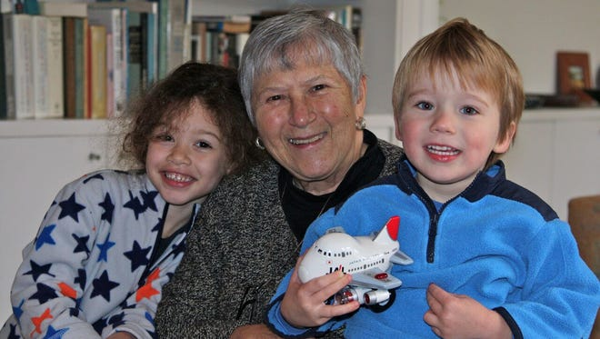 Polly Rothstein, an abortion rights advocate who died Nov. 13, 2016, at age 80, pictured with her grandchildren, Juliana and Owen Jesse Rothstein.