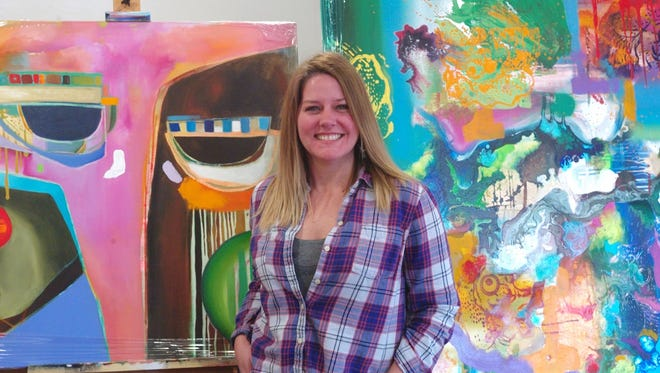 Crimson Shults, known more as a portrait artist, delves into abstraction for her latest exhibit. Although her latest exhibit is inspired by the Book of Revelations, her abstract paintings are colorful and joyful.
