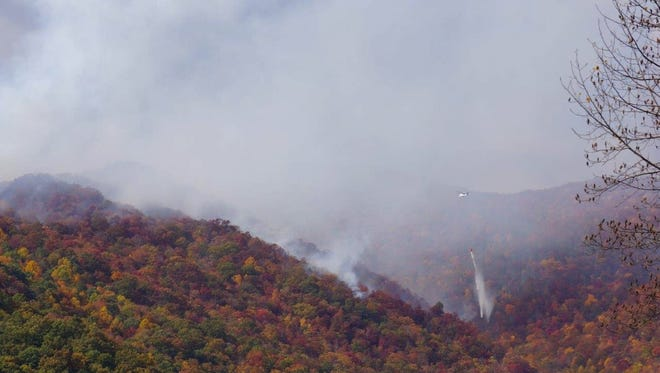 Historic wildfires burned across Western North Carolina in the fall of 2016, as seen here. A 10-15-acre fire in the Pisgah National Forest near Hot Springs has temporarily closed a section of the Appalachian Trail.