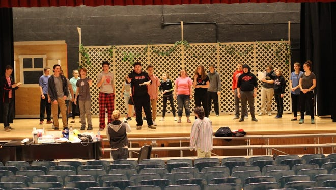 """Director Annette Twitchell and choreographer Kayla Lyon coach the cast during a rehearsal for """"State Fair."""""""