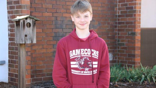 Haydn Whitfield, a student at Seneca Middle School, is an aspiring wrestler. Congratulations, Haydn!