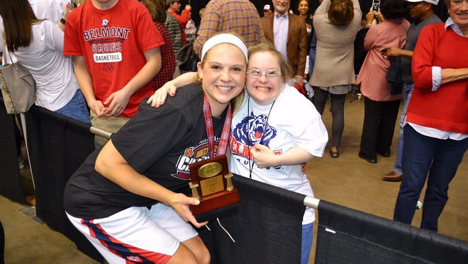 Belmont junior forward Kylee Smith (left) poses with friend Lynlea Payne after Smith was named MVP of the OVC tournament last week.