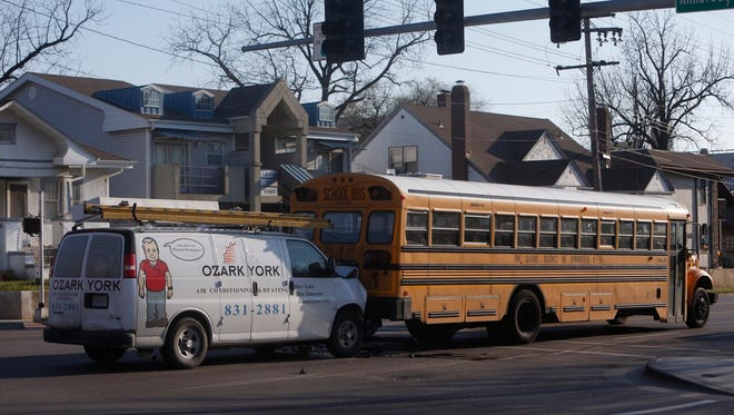A Springfield Public Schools bus was involved in a crash Monday morning at Kimbrough Avenue and Grand Street.
