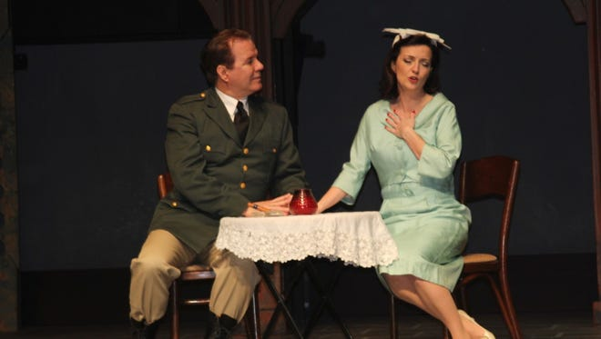 Evita (Amy Musselwhite) makes quick work of becoming the mistress, and later the wife, of Juan Peron (Dan Engelhard).